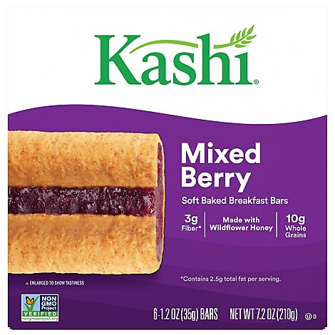 Kashi Soft Baked Breakfast Bars Mixed Berry 6 Count - 7.2 Oz