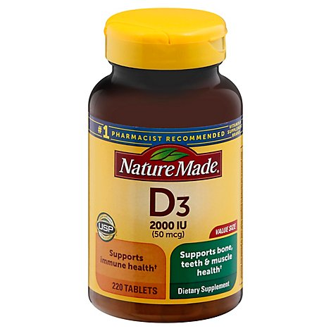 Nature Made Vitamin D Supplement Tablets D3 2000 IU - 220 Count