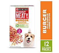 Moist & Meaty Dog Food Burger With Cheddar Cheese Flavor Pouches 12 Count - 72 Oz