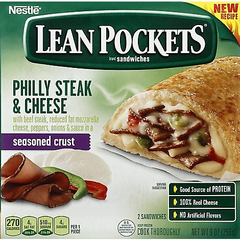 Lean Pockets Sandwiches Seasoned Crust Philly Steak & Cheese 2 Count - 9 Oz