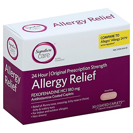 Signature Care Allergy Relief Fexofenadine HCI 180mg Antihistamine Caplet - 30 Count