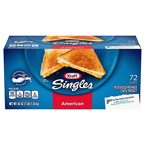 Kraft Singles Cheese Product Pasteurized Prepared American - 72 Count