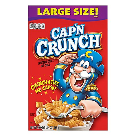 Cap N Crunch Cereal Sweetened Corn & Oat - 20 Oz