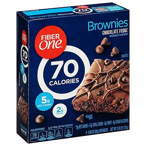 Fiber One Brownies 90 Calories Chocolate Fudge - 6-0.89 Oz
