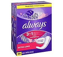 Always Liners Daily Xtra Protection Extra Long with Odor Lock - 60 Count