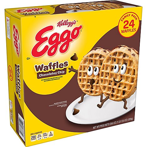 Eggo Frozen Waffles Chocolatey Chip Family Pack - 29.6 Oz