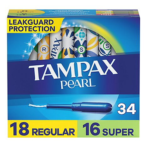 Tampax Pearl Tampons Regular & Super Absorbency Unscented Duo Pack - 34 Count