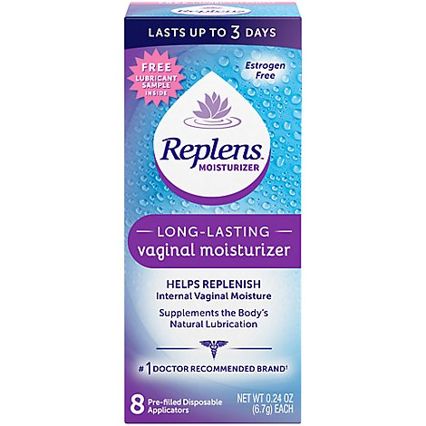 Replens Vaginal Moiturizer Long-Lasting 8 Disposable Applicators - 0.24 Oz