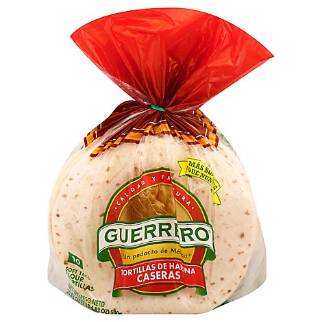 Guerrero Tortillas Flour Soft Taco De Harina Caseras Bag 10 Count - 20.83 Oz