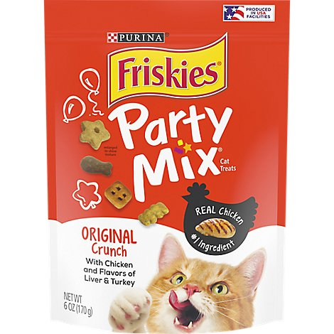 Friskies Party Mix Crunch Cat Treats Original Chicken Liver & Turkey Flavors Pouch - 6 Oz