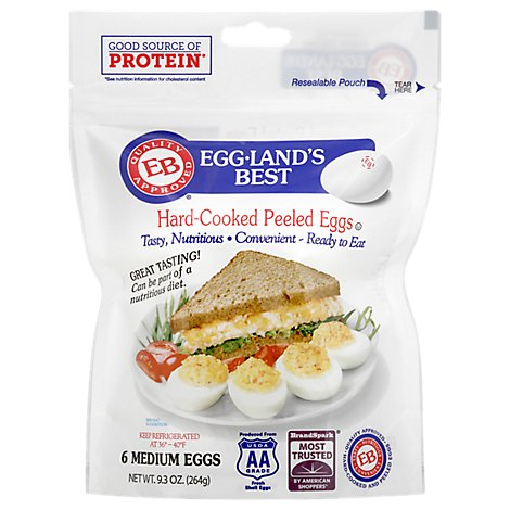 Egglands Best Eggs Hard-Cooked Peeled Medium - 6 Count