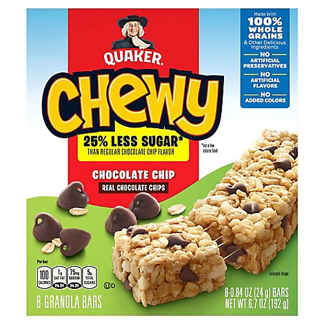 Quaker Chewy Granola Bars 25% Less Sugar Chocolate Chip - 8-0.84 Oz