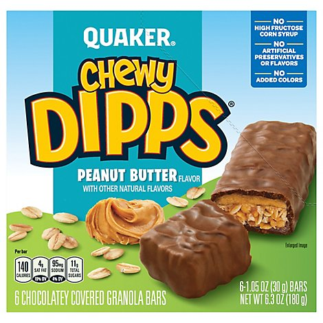 Quaker Chewy Dipps Granola Bars Chocolatey Covered Peanut Butter Flavor - 6-1.05 Oz