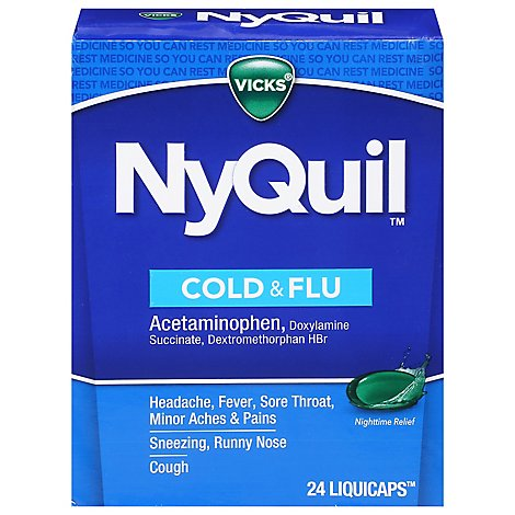 Vicks NyQuil Medicine For Cold & Flu Relief Nighttime LiquiCaps - 24 Count