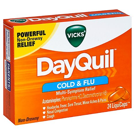 Vicks DayQuil Medicine For Cold & Flu Relief Multi Symptom Non Drowsy Liquicaps - 24 Count