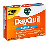 Vicks DayQuil Cold & Flu Relief Multi Symptom LiquiCaps Non Drowsy - 24 Count