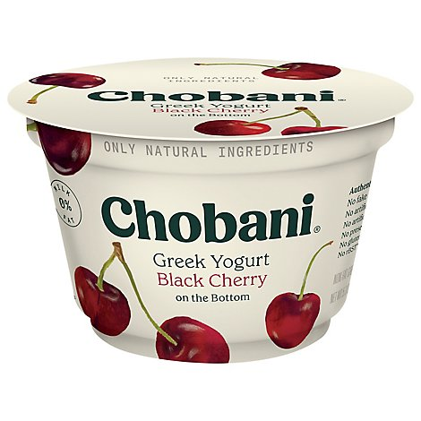 Chobani Yogurt Greek Non Fat On The Bottom Black Cherry - 5.3 Oz