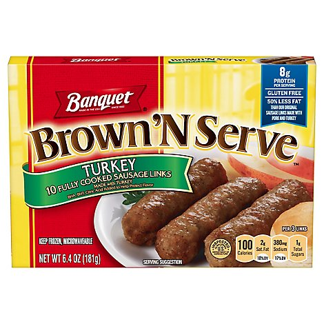 Banquet Brown N Serve Sausage Links Fully Cooked Turkey 10 Count - 6.4 Oz