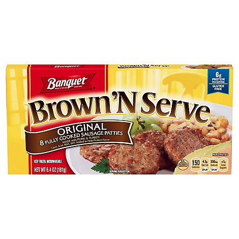 Banquet Brown N Serve Sausage Patties Fully Cooked Original 8 Count - 6.4 Oz