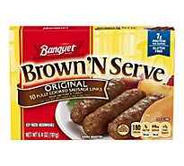 Banquet Brown N Serve Sausage Links Fully Cooked Original 10 Count - 6.4 Oz