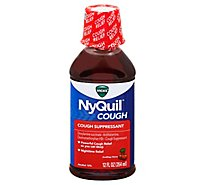 Vicks NyQuil Cough Suppressant Nighttime Liquid Soothing Cherry - 12 Fl. Oz.