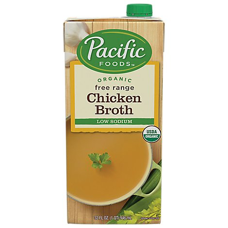 Pacific Organic Broth Chicken Free Range Low Soidum - 32 Fl. Oz.