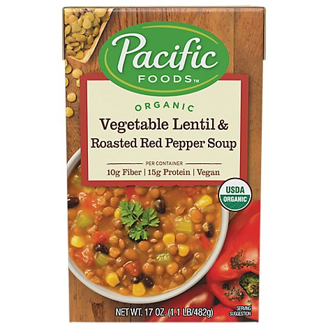 Pacific Soup All Natural Vegetable Lentil & Roasted Red Pepper - 17.6 Oz