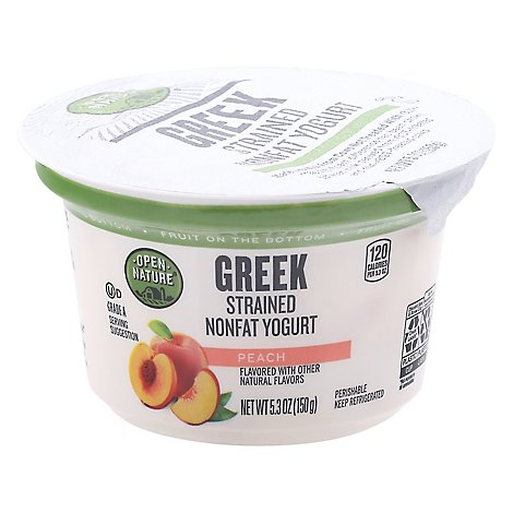 Open Nature Yogurt Greek Nonfat Strained Fruit on the Bottom Peach - 5.3 Oz