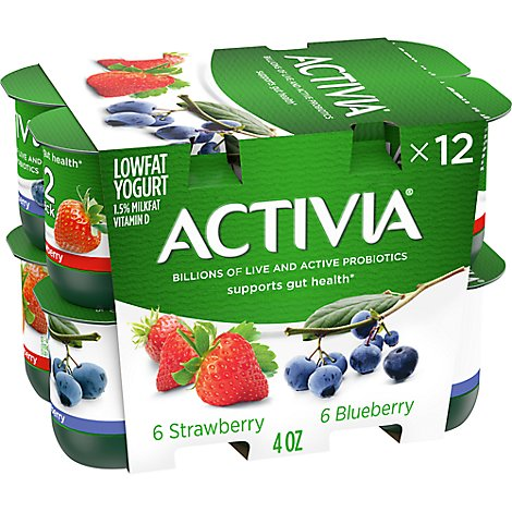 Activia Probiotic Yogurt Lowfat With Bifidus Strawberry & Blueberry - 12-4 Oz