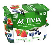 Activia Probiotic Yogurt Lowfat Strawberry & BlueBerry Variety Pack - 12-4 Oz