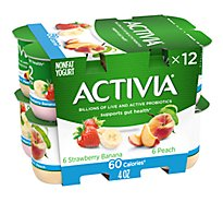 Activia Probiotic Yogurt Nonfat 60 Calories Strawberry Banana & Peach Variety Pack - 12-4 Oz