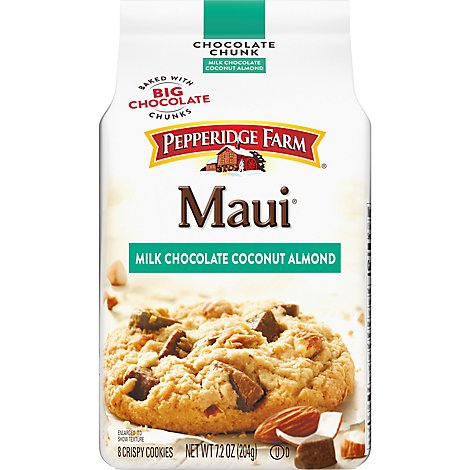 Pepperidge Farm Cookies Chocolate Chunk Maui Milk Chocolate Almond Coconut - 7.2 Oz