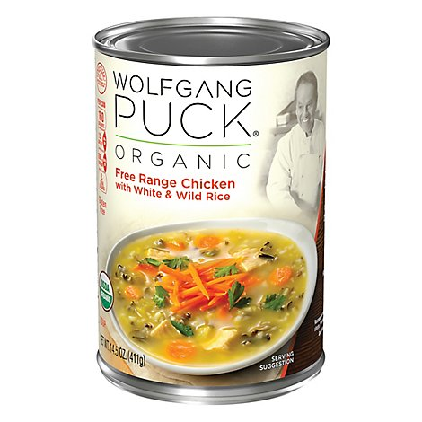 Wolfgang Puck Soup Organic Free Range Chicken with White & Wild Rice - 14.5 Oz