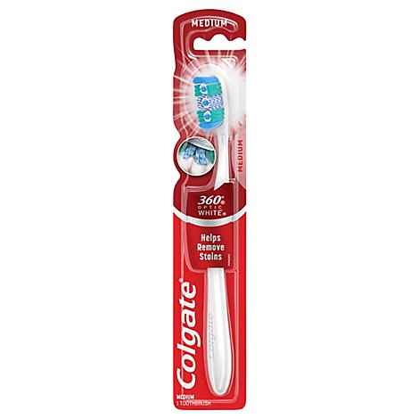 Colgate 360 Degree Toothbrush Optic White Full Head Medium 48 - Each