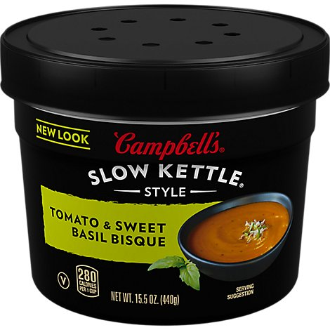 Campbells Slow Kettle Style Soup Bisque Tomato & Sweet Basil - 15.5 Oz