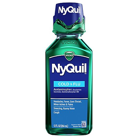 Vicks NyQuil Cold & Flu Relief Nighttime Liquid Original - 12 Fl. Oz.