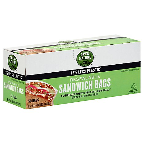 Open Nature Bags Sandwich Resealable Strong Closure - 50 Count