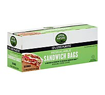 Open Nature/Bright Green Bags Sandwich Resealable Strong Closure - 50 Count