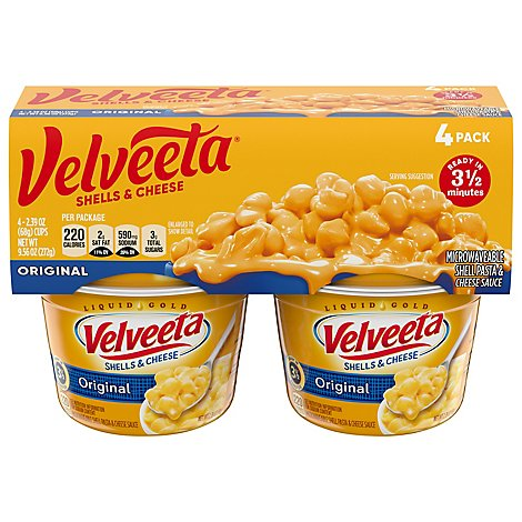 Velveeta Shells & Cheese Original 4 Pack Cup - 4-2.39 Oz