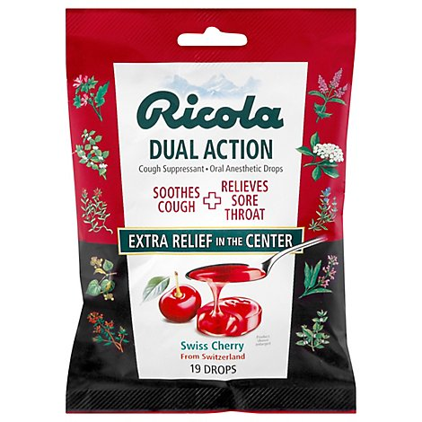 Ricola Dual Action Cherry Throat Drops - 19 Count