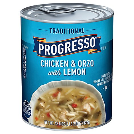 Progresso Traditional Soup Chicken & Orzo with Lemon - 18.5 Oz