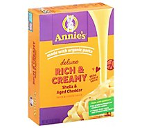 Annies Homegrown Macaroni & Cheese Sauce Creamy Deluxe Aged Cheddar Box - 11 Oz