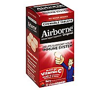 Airborne Immune Support Supplement Chewable Tablet 1000mg Vitamin C Very Berry - 32 Count