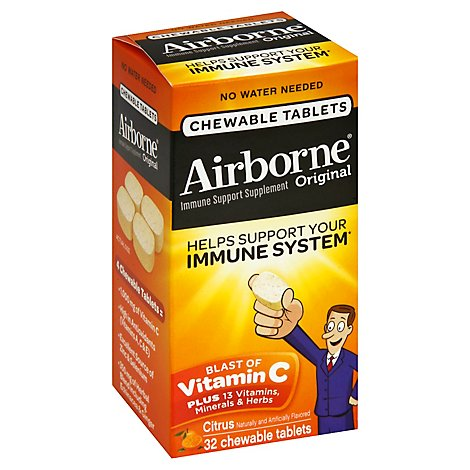 Airborne Immune Support Supplement Chewable Tablet 1000mg Vitamin C Citrus - 32 Count
