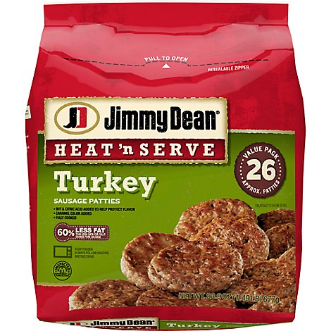 Jimmy Dean Heat N Serve Turkey Sausage Patties 26 Count - 23.9 Oz