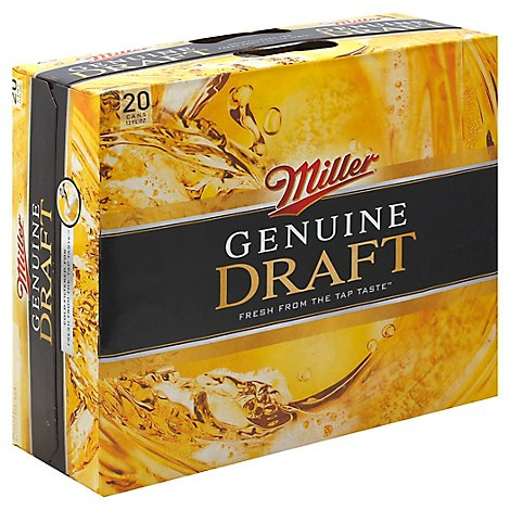 Miller Genuine Draft Lager Beer Cans 4.6% ABV - 20-12 Fl. Oz.