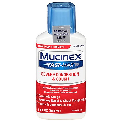 Mucinex Fast-Max Severe Congestion and Cough Medicine Multi Relief Symptoms Liquid - 6 Fl. Oz.
