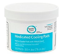 Signature Care Medicated Cooling Pad Hemorrhoidal With Witch Hazel - 100 Count