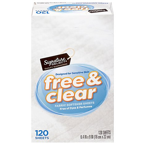 Signature SELECT/Home Fabric Softener Sheets Free & Clear Box - 120 Count