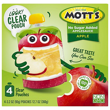 Motts No Sugar Added Applesauce clear pouches - 4-3.2 Oz